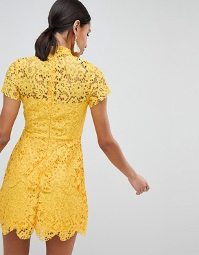 photo High Neck Lace Mini Dress by Missguided, color Yellow - Image 2