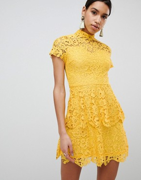 photo High Neck Lace Mini Dress by Missguided, color Yellow - Image 1