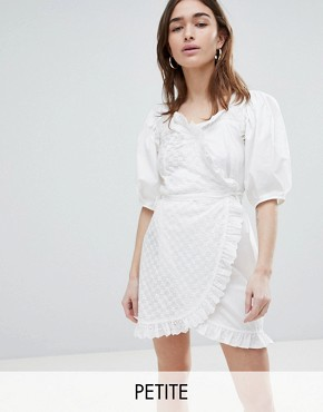 photo Wrap Dress in Broderie with Lace Trim by Lost Ink Petite, color Ivory - Image 1
