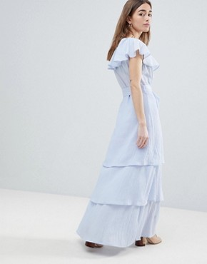 photo Maxi Dress with Tiered Ruffle Skirt by Lost Ink Petite, color Light Blue - Image 2