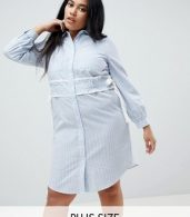 photo Shirt Dress in Stripe with Waist Detail by Lost Ink Plus, color Stripe Print - Image 1