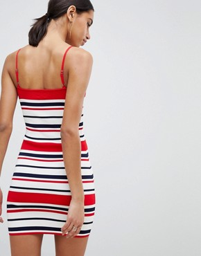 photo 90's Stripe Bandage Rib Dress by Parallel Lines, color Red Navy - Image 2