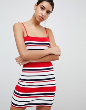 photo 90's Stripe Bandage Rib Dress by Parallel Lines, color Red Navy - Image 1