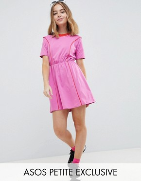 photo Mini Skater Dress in Colour Block by ASOS DESIGN Petite, color Pink/Red - Image 1