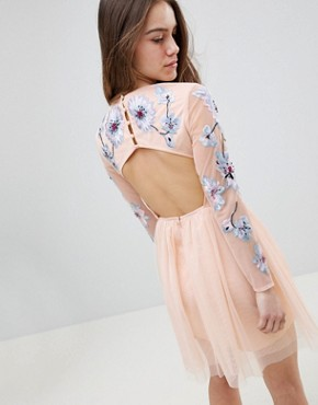 photo Pastel Embroidered Tulle Mini Dress by ASOS DESIGN Petite, color Blush - Image 2