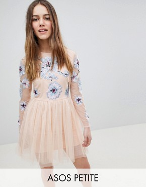 photo Pastel Embroidered Tulle Mini Dress by ASOS DESIGN Petite, color Blush - Image 1
