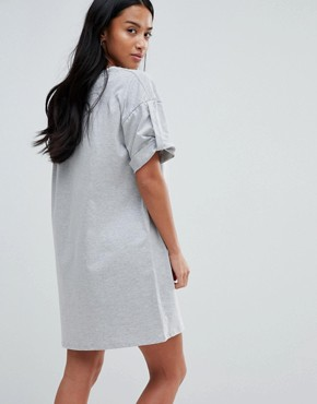photo Rolled Sleeve T-Shirt Dress with Tab by ASOS PETITE ULTIMATE, color Grey Marl - Image 2