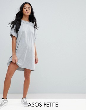 photo Rolled Sleeve T-Shirt Dress with Tab by ASOS PETITE ULTIMATE, color Grey Marl - Image 1
