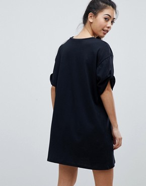 photo Rolled Sleeve T-Shirt Dress with Tab by ASOS PETITE ULTIMATE, color Black - Image 2