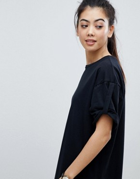photo Rolled Sleeve T-Shirt Dress with Tab by ASOS PETITE ULTIMATE, color Black - Image 3