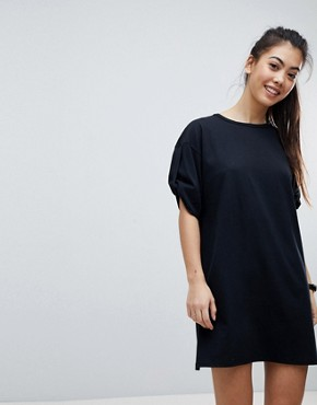 photo Rolled Sleeve T-Shirt Dress with Tab by ASOS PETITE ULTIMATE, color Black - Image 4