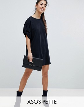 photo Rolled Sleeve T-Shirt Dress with Tab by ASOS PETITE ULTIMATE, color Black - Image 1