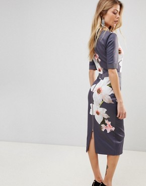 photo Bisslee Pencil Dress in Chatsworth Bloom by Ted Baker, color Grey - Image 2