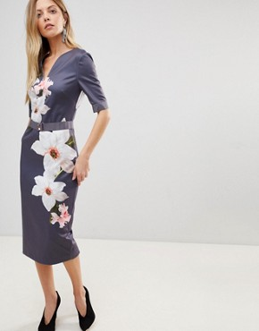 photo Bisslee Pencil Dress in Chatsworth Bloom by Ted Baker, color Grey - Image 1