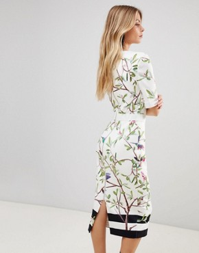 photo Evrely Bodycon Dress in Highgrove Print by Ted Baker, color White - Image 2