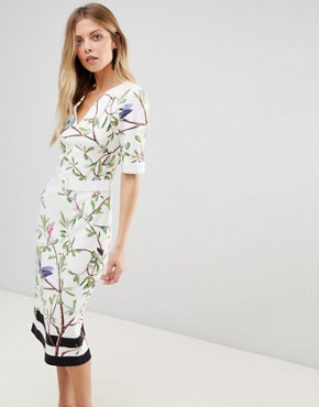 photo Evrely Bodycon Dress in Highgrove Print by Ted Baker, color White - Image 1