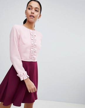 photo Steyla Ruffle Dress by Ted Baker, color Dusky Pink - Image 1