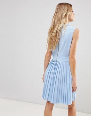 photo Miyya Pleated Bib Dress by Ted Baker, color Baby Blue - Image 2