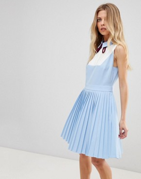 photo Miyya Pleated Bib Dress by Ted Baker, color Baby Blue - Image 1
