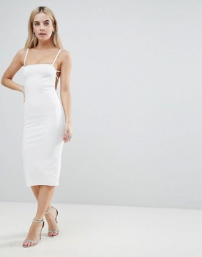 photo Crepe Square Neck Strappy Exposed Back Midi Dress by ASOS PETITE, color Ivory - Image 2