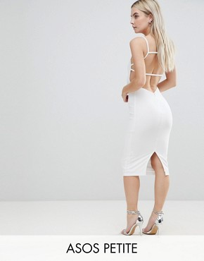 photo Crepe Square Neck Strappy Exposed Back Midi Dress by ASOS PETITE, color Ivory - Image 1