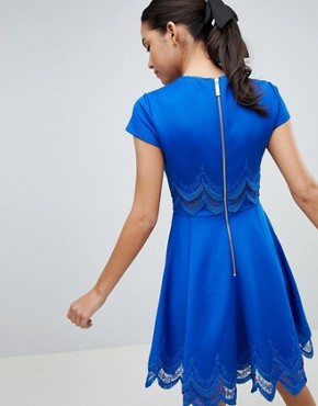 photo Rehanna Embroidered Skater Dress by Ted Baker, color Mid Blue - Image 2