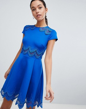 photo Rehanna Embroidered Skater Dress by Ted Baker, color Mid Blue - Image 1