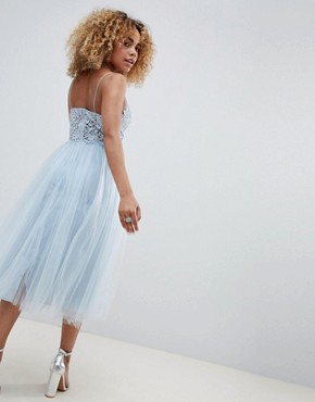 photo Premium Lace Cami Top Tulle Midi Dress by ASOS DESIGN Petite, color Grey Blue - Image 2