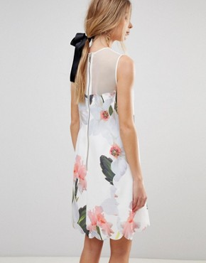 photo Caprila Mini Dress in Chatsworth Floral by Ted Baker, color White - Image 2