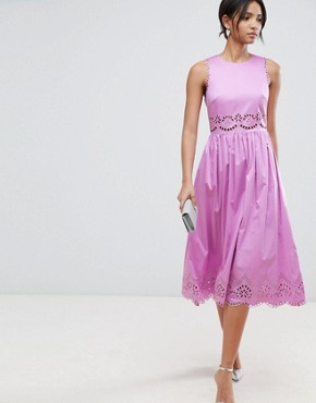 photo Violet Embroidered Midi Dress by Ted Baker, color Pink - Image 1