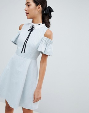 photo Araye Skater Dress with Embellished Collar by Ted Baker, color Baby Blue - Image 1