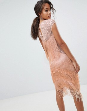 photo Fringe & Sequin Sheer Midi Dress by ASOS DESIGN Tall, color Blush - Image 2