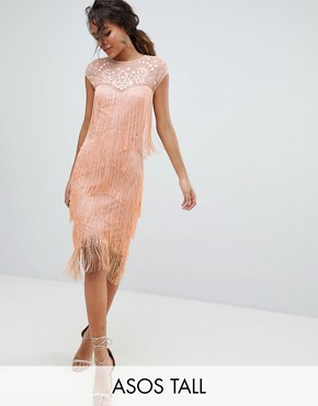 photo Fringe & Sequin Sheer Midi Dress by ASOS DESIGN Tall, color Blush - Image 1