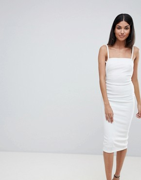 photo Crepe Square Neck Strappy Exposed Back Midi Dress by ASOS TALL, color Ivory - Image 2