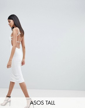 photo Crepe Square Neck Strappy Exposed Back Midi Dress by ASOS TALL, color Ivory - Image 1