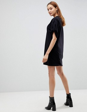 photo Rolled Sleeve T-Shirt Dress with Tab by ASOS TALL ULTIMATE, color Black - Image 2