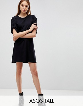 photo Rolled Sleeve T-Shirt Dress with Tab by ASOS TALL ULTIMATE, color Black - Image 1