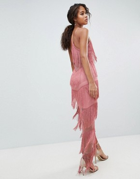 photo Fringe Mesh Strappy Maxi Bodycon Dress by ASOS DESIGN Tall, color Blush - Image 2