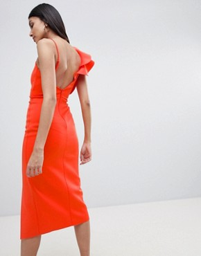 photo Frill One Shoulder Scuba Bodycon Dress with Midriff by ASOS DESIGN Tall, color Red - Image 2
