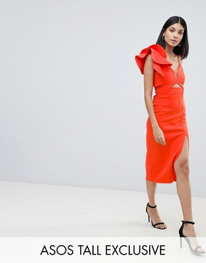 photo Frill One Shoulder Scuba Bodycon Dress with Midriff by ASOS DESIGN Tall, color Red - Image 1