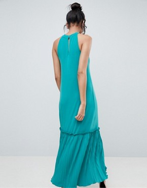 photo High Neck Maxi Sundress with Pleated Hem by ASOS TALL, color Turquoise - Image 2