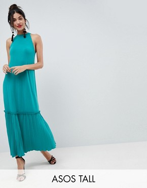 photo High Neck Maxi Sundress with Pleated Hem by ASOS TALL, color Turquoise - Image 1