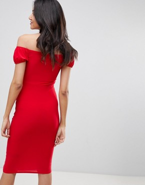 photo Ruffle Front Bodycon Midi Dress by ASOS DESIGN Tall, color Red - Image 2