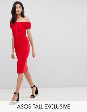 photo Ruffle Front Bodycon Midi Dress by ASOS DESIGN Tall, color Red - Image 1