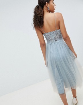 photo Premium Lace Cami Top Tulle Midi Dress by ASOS DESIGN Tall, color Grey Blue - Image 2