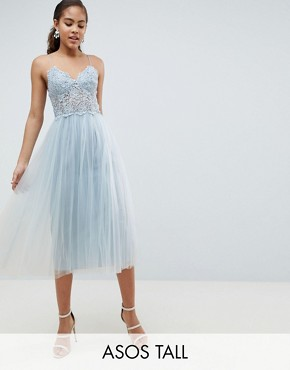 photo Premium Lace Cami Top Tulle Midi Dress by ASOS DESIGN Tall, color Grey Blue - Image 1