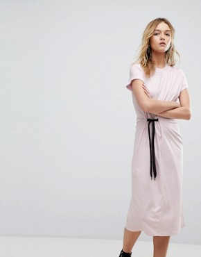 photo Side Tie Midi Dress by Cheap Monday, color Pale Pink - Image 1