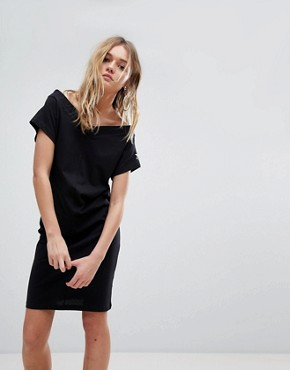 photo Off the Shoulder Dress with Sleeve Logo by Cheap Monday, color Black - Image 1