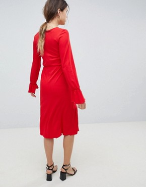 photo Maternity Nursing Wrap Dress with Frill Detail by ASOS DESIGN, color Red - Image 2