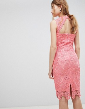 photo High Neck Crochet Dress by Paper Dolls, color Pink - Image 2